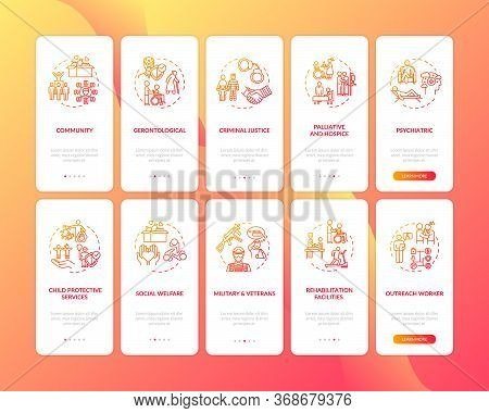 Social Support Onboarding Mobile App Page Screen Set With Concepts. Public Worker. Welfare Organisat