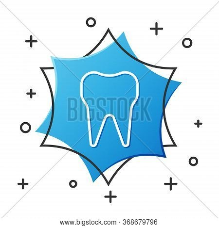 White Line Tooth Icon Isolated On White Background. Tooth Symbol For Dentistry Clinic Or Dentist Med