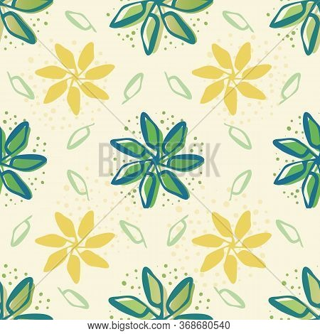 Retro Flowers And Leaves Seamless Vector Pattern Background. Painterly Yellow And Green Blooms Folia