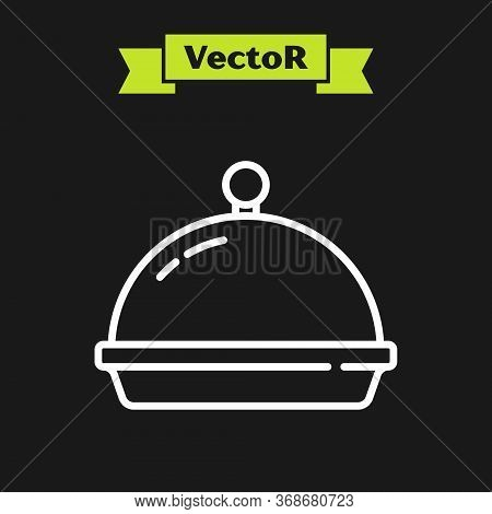 White Line Covered With A Tray Of Food Icon Isolated On Black Background. Tray And Lid. Restaurant C