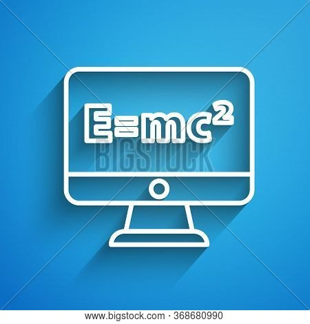 White Line Math System Of Equation Solution On Computer Monitor Icon Isolated On Blue Background. E
