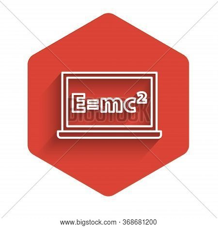 White Line Math System Of Equation Solution On Chalkboard Icon Isolated With Long Shadow. E Equals M