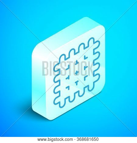 Isometric Line Cracker Biscuit Icon Isolated On Blue Background. Sweet Cookie. Silver Square Button.