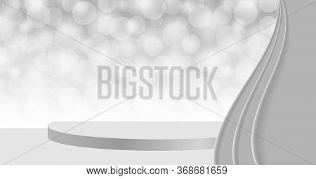 3d Pedestal Stage On Silver Grey Bokeh And Curtain, Stage Podium Gray With Curtains For Cosmetics Pr