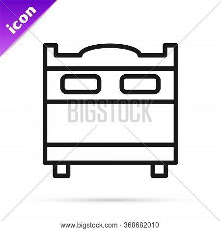 Black Line Bedroom Icon Isolated On White Background. Wedding, Love, Marriage Symbol. Bedroom Creati