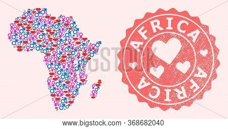Vector Composition Of Love Smile Map Of Africa And Red Grunge Seal With Heart. Map Of Africa Collage