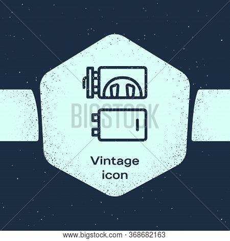 Grunge Line Crematorium Icon Isolated On Blue Background. Monochrome Vintage Drawing. Vector.