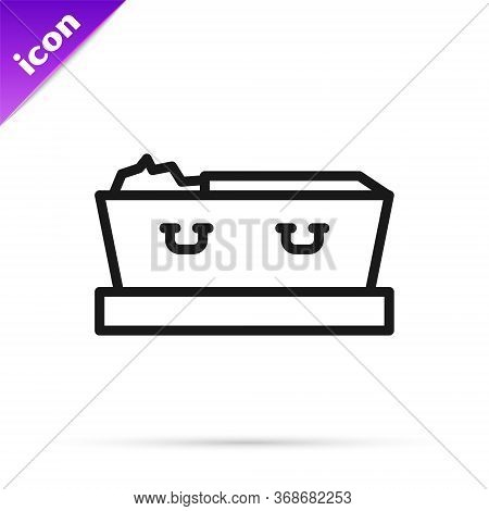 Black Line Open Coffin With Dead Deceased Body Icon Isolated On White Background. Funeral After Deat