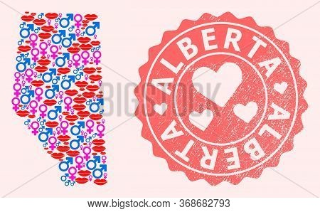 Vector Collage Of Love Smile Map Of Alberta Province And Red Grunge Seal Stamp With Heart. Map Of Al