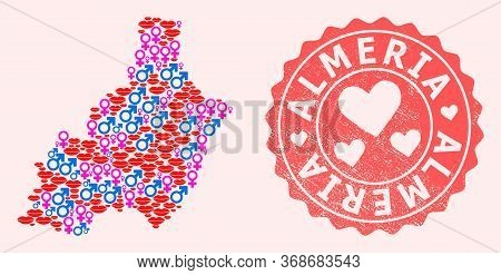 Vector Collage Of Love Smile Map Of Almeria Province And Red Grunge Seal With Heart. Map Of Almeria