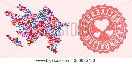 Vector Collage Of Love Smile Map Of Azerbaijan And Red Grunge Seal Stamp With Heart. Map Of Azerbaij