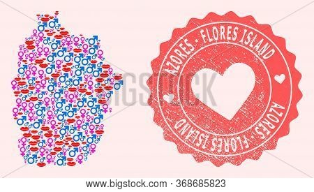 Vector Collage Of Love Smile Map Of Azores - Flores Island And Red Grunge Seal With Heart. Map Of Az