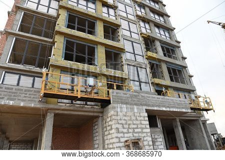 Mineral Wool For Insulation Of The Facade Building. Insulation For Thermal Protection To The Shell O
