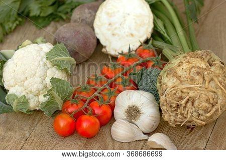 Healthy Vegetarian Food, Fresh Organic Vegetable On Wooden Table