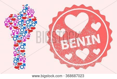 Vector Collage Of Sexy Smile Map Of Benin And Red Grunge Seal With Heart. Map Of Benin Collage Compo