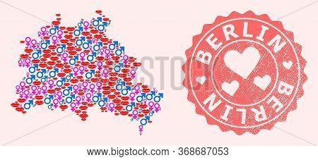 Vector Collage Of Sexy Smile Map Of Berlin City And Red Grunge Seal Stamp With Heart. Map Of Berlin