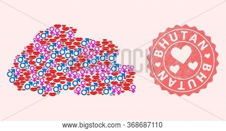 Vector Collage Of Sexy Smile Map Of Bhutan And Red Grunge Stamp With Heart. Map Of Bhutan Collage Fo