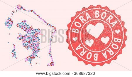Vector Collage Of Love Smile Map Of Bora-bora And Red Grunge Seal Stamp With Heart. Map Of Bora-bora