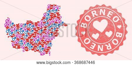 Vector Collage Of Sexy Smile Map Of Borneo Island And Red Grunge Seal Stamp With Heart. Map Of Borne