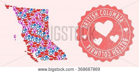 Vector Combination Of Love Smile Map Of British Columbia Province And Red Grunge Seal Stamp With Hea