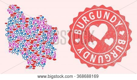 Vector Collage Of Love Smile Map Of Burgundy Province And Red Grunge Seal With Heart. Map Of Burgund