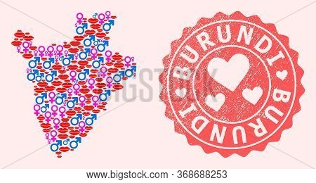 Vector Composition Of Sexy Smile Map Of Burundi And Red Grunge Seal Stamp With Heart. Map Of Burundi