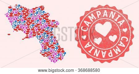 Vector Collage Of Sexy Smile Map Of Campania Region And Red Grunge Stamp With Heart. Map Of Campania