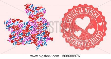 Vector Collage Of Sexy Smile Map Of Castile-la Mancha Province And Red Grunge Seal With Heart. Map O