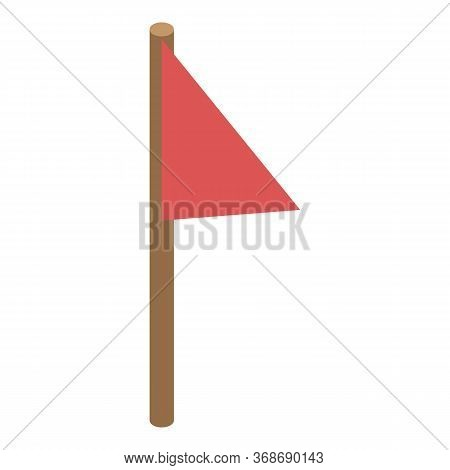 Red Flag Excursion Icon. Isometric Of Red Flag Excursion Vector Icon For Web Design Isolated On Whit