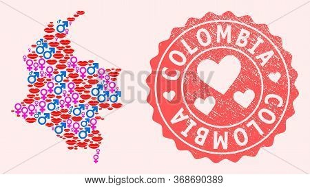 Vector Composition Of Love Smile Map Of Colombia And Red Grunge Seal With Heart. Map Of Colombia Col