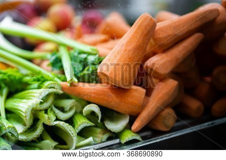 Juice Bar With Assorted Fresh Fruits And Vegetables. Tropical Summer Outdoor Background.various Vege