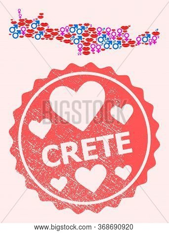 Vector Composition Of Love Smile Map Of Crete Island And Red Grunge Seal With Heart. Map Of Crete Is