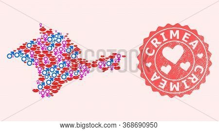 Vector Collage Of Love Smile Map Of Crimea And Red Grunge Stamp With Heart. Map Of Crimea Collage Fo