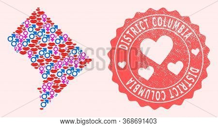 Vector Collage Of Love Smile Map Of District Columbia And Red Grunge Seal With Heart. Map Of Distric