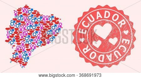 Vector Collage Of Love Smile Map Of Ecuador And Red Grunge Seal Stamp With Heart. Map Of Ecuador Col