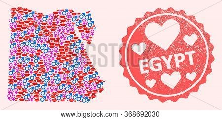 Vector Collage Of Sexy Smile Map Of Egypt And Red Grunge Seal With Heart. Map Of Egypt Collage Forme