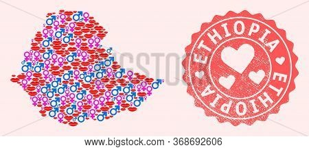 Vector Collage Of Love Smile Map Of Ethiopia And Red Grunge Seal With Heart. Map Of Ethiopia Collage