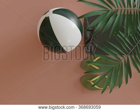 Beach Ball Flipflop Sandals And Towel Under Tropical Leaves In Studio Viewed From Above As Minimalis