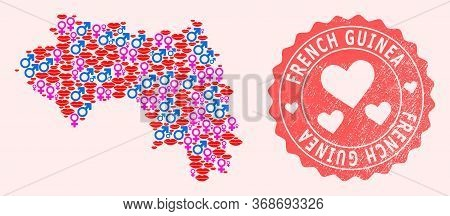 Vector Collage Of Sexy Smile Map Of French Guinea And Red Grunge Seal Stamp With Heart. Map Of Frenc