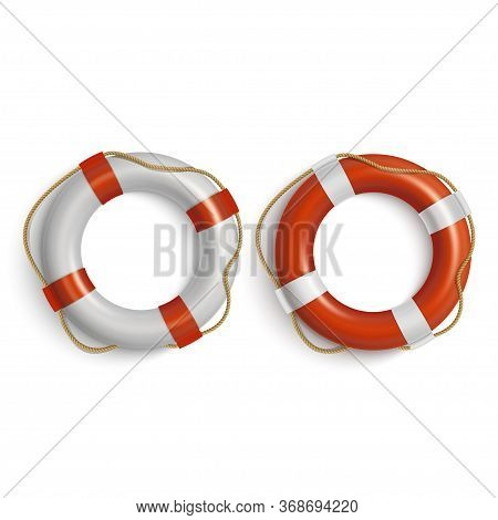 Lifebuoies Icons Set. Life Preserver Or Saver Red And White.