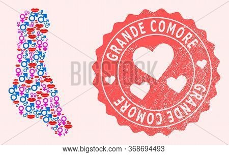 Vector Collage Of Sexy Smile Map Of Grande Comore Island And Red Grunge Seal With Heart. Map Of Gran
