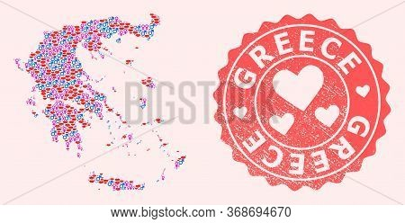 Vector Collage Of Love Smile Map Of Greece And Red Grunge Seal With Heart. Map Of Greece Collage Des