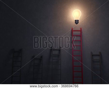 3d Illustration Of Several Gray Ladders Leading Nowhere And Leaning Against A Dark, Concrete Backgro