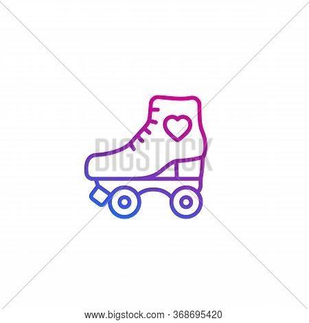 Roller Skates Line Icon On White, Eps 10 File, Easy To Edit