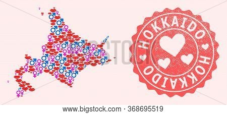 Vector Collage Of Love Smile Map Of Hokkaido Island And Red Grunge Seal With Heart. Map Of Hokkaido