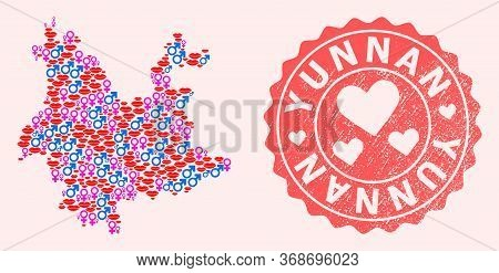 Vector Collage Of Love Smile Map Of Yunnan Province And Red Grunge Stamp With Heart. Map Of Yunnan P