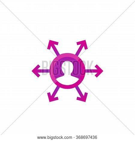 Delegation, Management Icon For Web, Eps 10 File, Easy To Edit