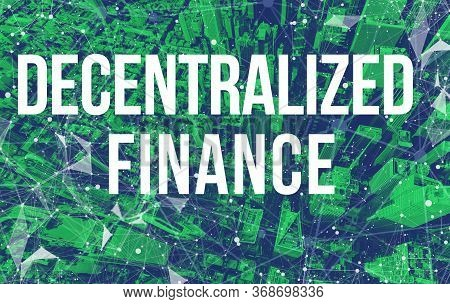 Decentralized Finance Defi Theme With Abstract Network Patterns And Manhattan Ny Skyscrapers