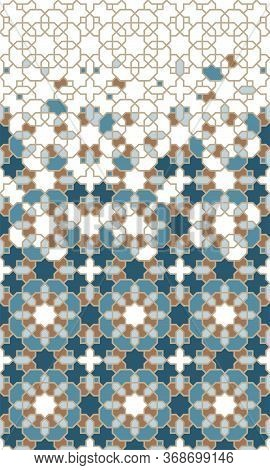 Moroccan Tile Repeating Vector Border For Wallpapers. Geometric Halftone Pattern With Color Moroccan