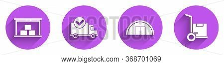 Set Warehouse, Delivery Truck With Check Mark, Warehouse And Hand Truck And Boxes Icon With Long Sha